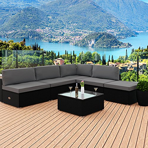 deuba rattan garten m bel set sofa lounge schwarz polyrattan stark kissen outdoor patio ecke. Black Bedroom Furniture Sets. Home Design Ideas