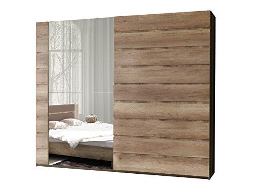 schwebet renschrank miro 12 modernes kleiderschrank mit spiegel garderobe schlafzimmerschrank. Black Bedroom Furniture Sets. Home Design Ideas