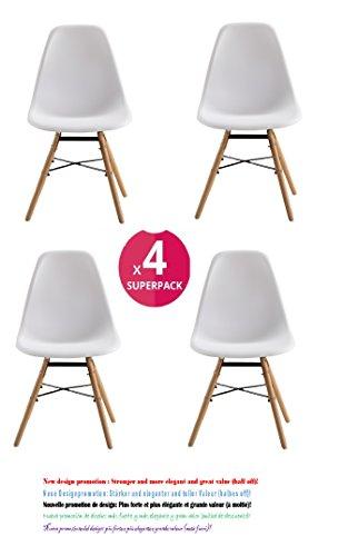 Comfortableplus 4er set stuhl kunststoff retro esstisch for Design stuhl replik