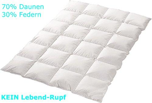 """4-Jahreszeiten 70%-Daunen-30%-Federn-Bettdecke """"Trautesheim"""" gesteppte Kassetten Daunen Decke in 155x220cm mit 1400g Füllung - Wärmestufe 4 - Bezug 100% Baumwolle - KEIN LEBEND-RUPF"""