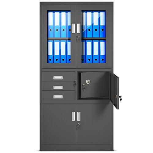 Aktenschrank C18S, Büroschrank mit Tresor Safe, Flügeltüren aus Glas 185 cm x 90 cm x 40 cm