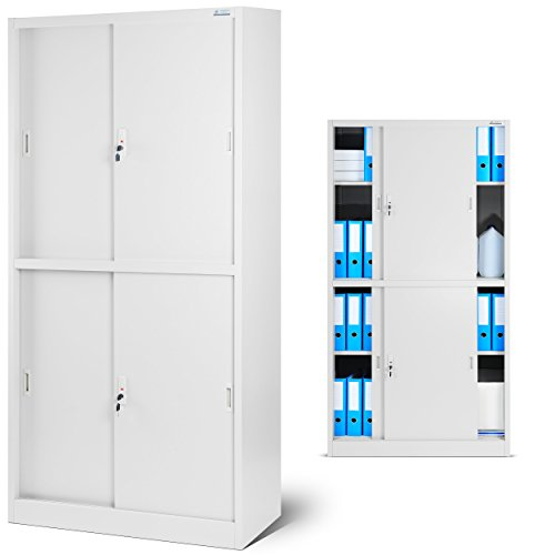 Aktenschrank SD004 Büroschrank mit Schiebetüren 2 Abteile abschließbar 185 cm x 90 cm x 40 cm