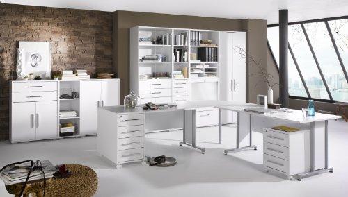 Arbeitszimmer Komplett Set Maja System 1208 10-teilig / Büromöbel in Icy Weiß / Weiß Hochglanz