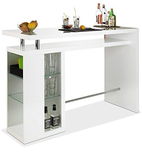 Bar Hausbar Cocktailbar Bartheke CAMARO | Dekor Weiß Hochglanz | Glaseinlegeböden