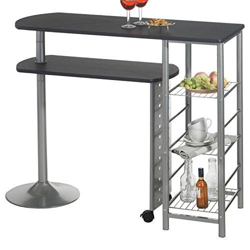Bartisch Stehtisch Tresen JOSUA, in schwarz/alu, mit Regal und schwenkbarem Tisch