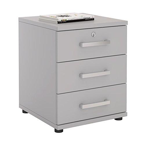 Bürocontainer Schreibtischcontainer Büroschrank TORONTO, lichtgrau, abschließbar mit 3 Schubladen, 44 x 58 x 45 cm