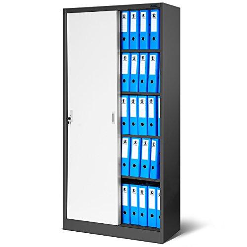 Büroschrank, SD001 Aktenschrank mit Schiebetüren, abschließbar, Farbwahl, 185 cm x 90 cm x 40 cm (H x B x T)