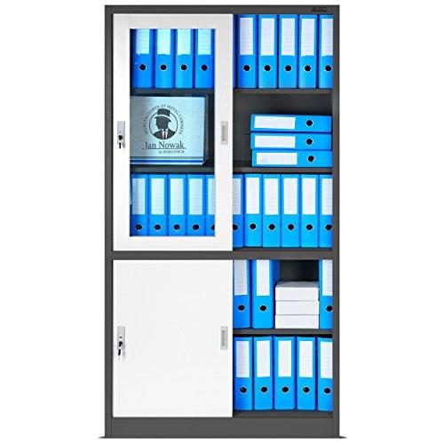 Büroschrank mit Schiebetüren, SD005B Aktenschrank, Flügeltüren aus Glas, abschließbar, Farbwahl, 185 cm x 90 cm x 40 cm (H x B x T)