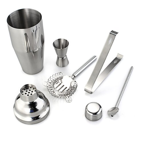 Cocktail Set Bar Shaker Barset Mixed Barshaker Cocktailset Edelstahl 750 ml 5 TL