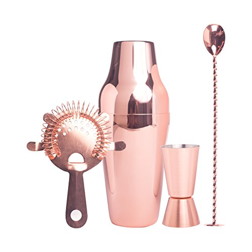 Cocktail Set Copper, Trend Geschenkbox premium Cocktail Shaker Set, Edelstahl kupferfarben, Cocktail Shaker, Jigger, Strainer, Barlöffel