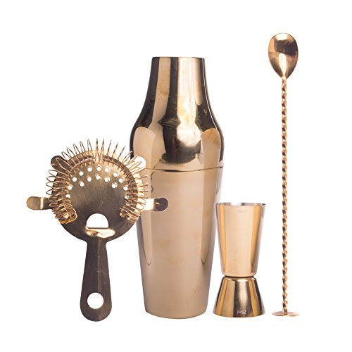 Cocktail Set Gold, Trend Geschenkbox premium Cocktail Shaker Set, Edelstahl goldfarben, Cocktail Shaker, Jigger, Strainer, Barlöffel