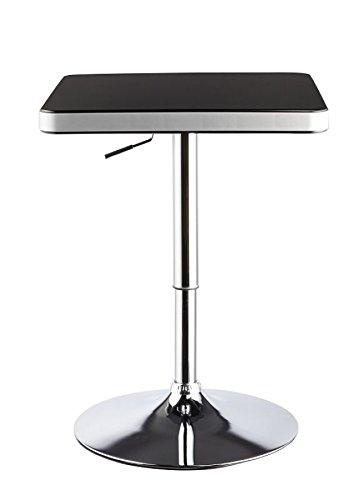 Duhome 0181 Design Bartisch in SCHWARZ/SILBER Stehtisch Bistrotisch höhenverstellbar