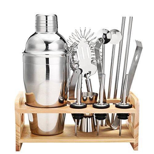 Edelstahl Cocktailshaker Set mit 13 Pcs von Godmorn, Cocktail Shaker, Cocktail Messbecher, Eissieb, Eiszange, Öffner, Edelstahl Strohhalme, Barlöffel, Ausgießer, Rack aus Holz