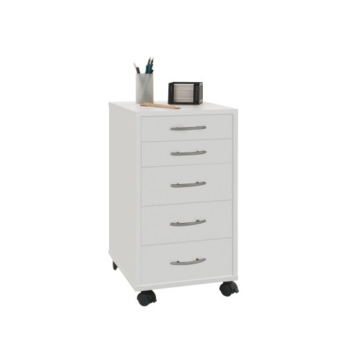 FMD Möbel 336-001 Rollcontainer Freddy, 33 x 63,5 x 38 cm, weiß