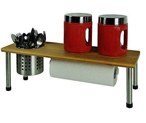 Küchenregal Bambusplatte Küchenrollenhalter Regal 55x18x20 Küchengestell Ablage