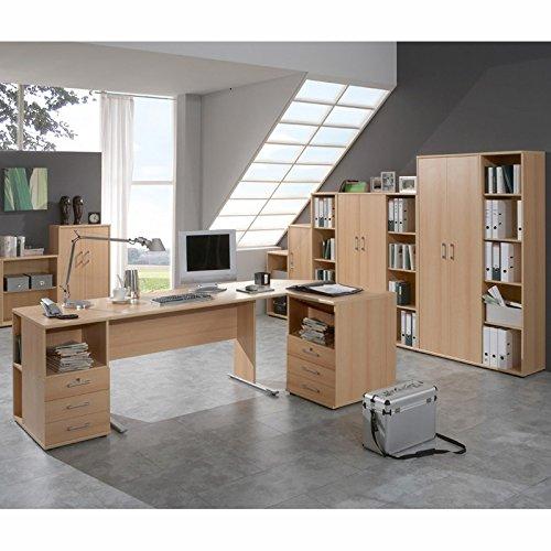 Komplett Büromöbel Set in Buche Nachbildung ● C-Fuss Schreibtische ● Container, Aktenschränke und Aktenregale ● Made in Germany