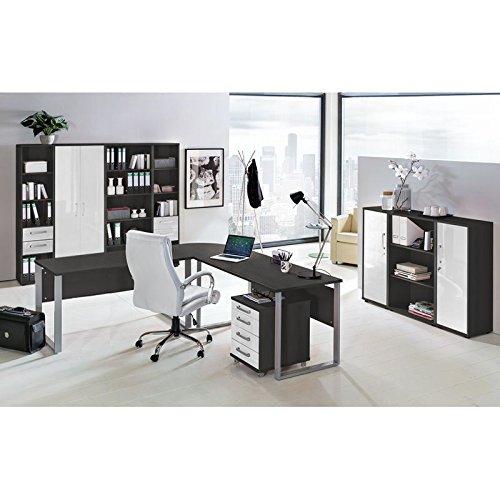 Komplett Büromöbel Set in anthrazit mit Hochglanz weiß ● 2x 140cm Schreibtische mit Metallkufen-Gestell ● Rollcontainer, Aktenschränke und Aktenregale ● Made in Germany