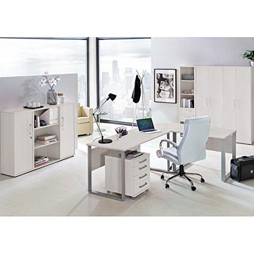 Komplett Büromöbel Set in lichtgrau ● Schreibtische mit Metallkufen-Gestell ● Rollcontainer, Aktenschränke und Aktenregale ● Made in Germany