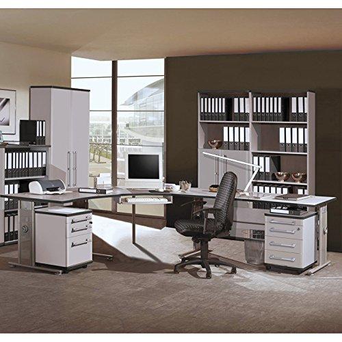 Komplett Büromöbel Set in lichtgrau, höhenverstellbare Schreibtische , 1 Karteicontainer 1 Rollcontainer Aktenregale Aktenschränke