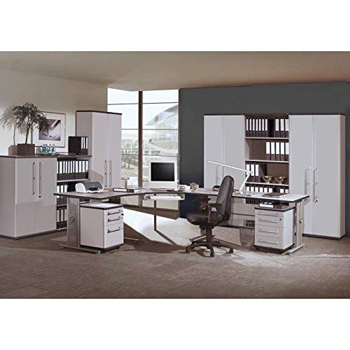 Komplett Büromöbel Set in lichtgrau, höhenverstellbare Schreibtische, Rollcontainer & Aktenschränke abschließbar, 1 Karteicontainer 1 Rollcontainer Aktenregale Aktenschränke