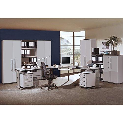 Komplett Büromöbel Set in lichtgrau, höhenverstellbare Schreibtische, Rollcontainer & Aktenschränke abschließbar, 2 Rollcontainer Aktenregale Aktenschränke