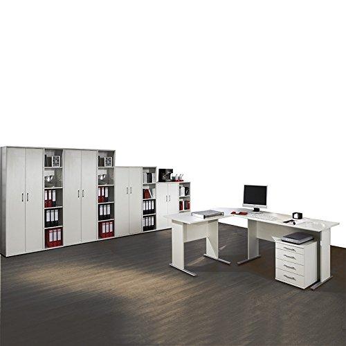 Komplett Büromöbel Set in weiß ● C-Fuss Schreibtische ● Container, 4 Aktenschränke und 4 Aktenregale ● Made in Germany