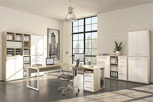 Komplettes Arbeitszimmer - Büromöbel Komplett Set Modell 2016 MAJA SET+ in Eiche Natur / Weißglas (SET 1)