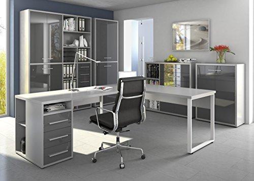 Komplettes Arbeitszimmer - Büromöbel Komplett Set Modell 2016 MAJA SET+ in Platingrau / Grauglas (SET 8)