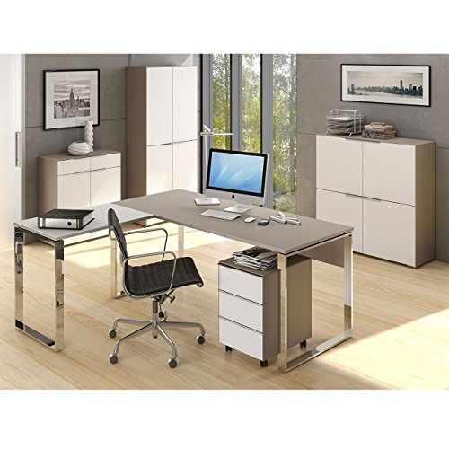 Komplettes Arbeitszimmer - Büromöbel Komplett Set Modell MAJA YAS in Glas sand matt / Weißglas 6-teilig (SET 2) -auch in anderen Kombinationen sofort verfügbar