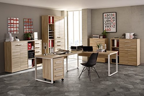 Komplettes Arbeitszimmer - Büromöbel Komplett Set Plus MAJA SET+ in Eiche Natur (SET 14)