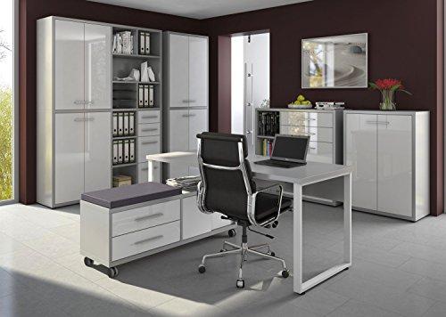 Komplettes Arbeitszimmer - Büromöbel Komplett Set Plus Modell 2017 MAJA SET+ in Platingrau / Weißglas (SET 7)