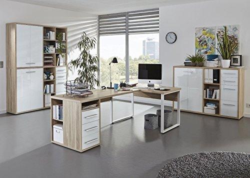 MAJA SET+ Büromöbel / Komplettes Arbeitszimmer SET 4 / Home Office 3-teilig - in Eiche Natur / Weißglas