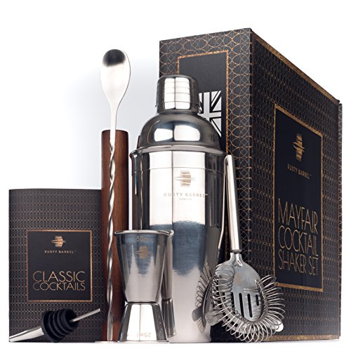 Rusty Barrel Mayfair Cocktail Shaker Set – Großer Manhattan Style Edelstahl Shaker, Stößel aus Holz, Sieb, Jigger (Messbecher, Barmaß), Ausgießer, Löffel & Rezeptbuch in luxuriöser Geschenk-Schachtel