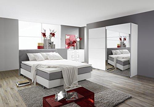 schlafzimmer komplett set weiss mit boxspringbett 140x200cm schwebet renschrank