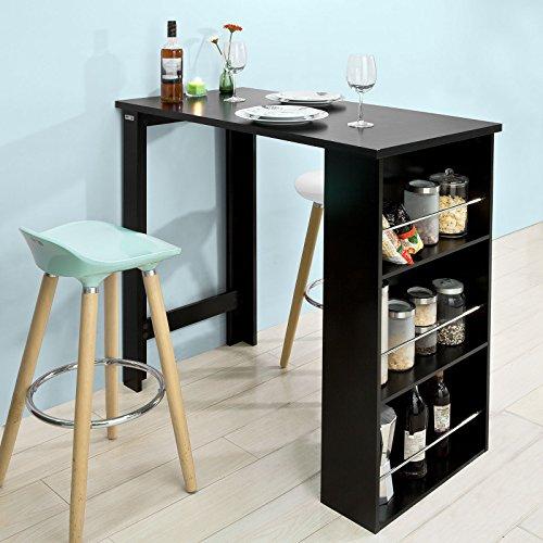 SoBuy® FWT17-SCH Bartisch, Beistelltisch, Stehtisch, Küchentheke, Küchenbartisch mit 3 Regalfächern, schwarz, BHT ca: 112x106x57cm