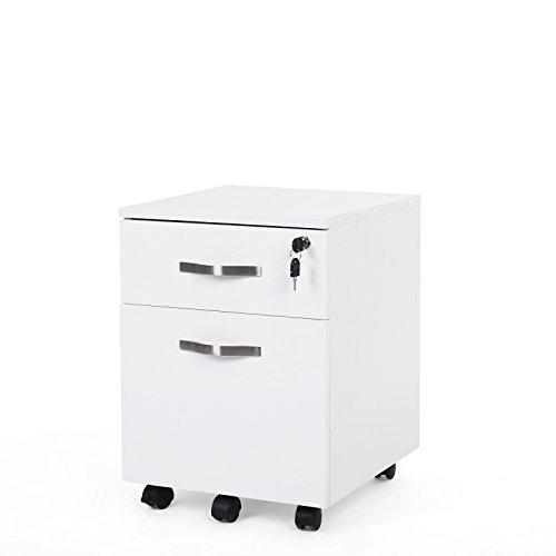 Songmics Abschließbar Rollcontainer Büroschrank mit 2 Schubladen 5 Rollen unten schreibtisch Büromöbel schwarz 44 x 40 x 54,5 cm
