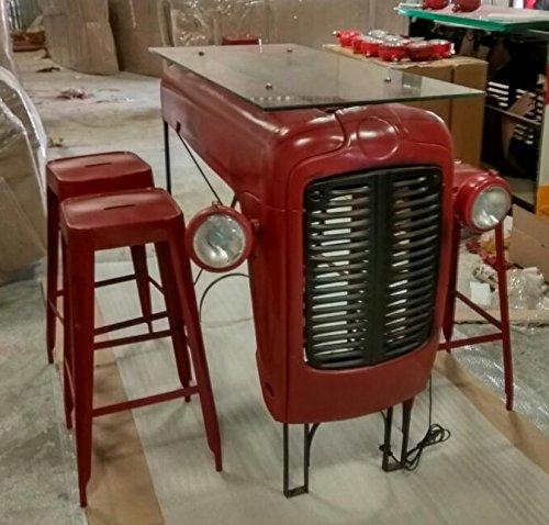 Traktor Bar Tresen Bartisch Frühstückstheke rot Glasplatte Designer Industrie Industrial Design
