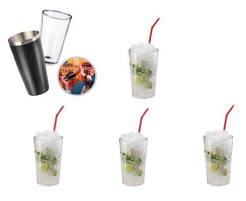 "elastofit® Cocktailshaker-Set ""Boston"" Cocktail-Set Inkl. 4 Bruchfeste Cocktailbecher aus Hochwertigem SAN-Kunststoff"