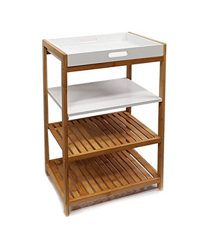 osoltus Küchenregal Badregal Bambus und weiß lackiertem Holz 112282