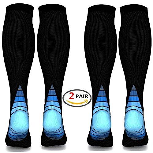 (2 Paar)Männer & Frauen Kompression Socken / Strümpfe ,Bessere Blutkreislauf, verhindern Blutgerinnsel, beschleunigen Wiederherstellung BEST Graduierte Athletic Fit für Laufen, Krankenschwestern, medi