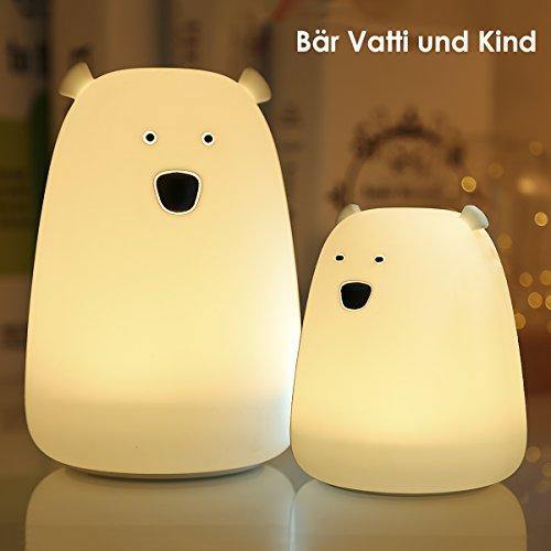2er LED Nachtlicht kinder,Greenclick LED Silikon Nachtlicht Süße Bären,7 Beleuchtung Schlaflicht Familie Geschenk für Baby Kinder Mädchen Erwachsene Kindergeburtstag Geschenk Party Grillfest Deko