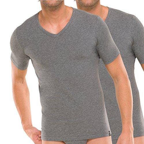 2er Pack - Schiesser 95/5 T-Shirt kurzarm V-Ausschnitt - Herren Unterhemd - Baumwolle - Weiß Grau Schwarz - 205429