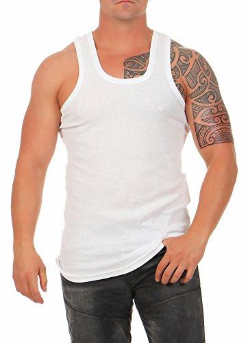 4, 8 oder 12 Herren Unterhemd Classic in FEINRIPP Tank Top weiß Muskel Shirt Trägershirt aus 100% gekämmter Baumwolle