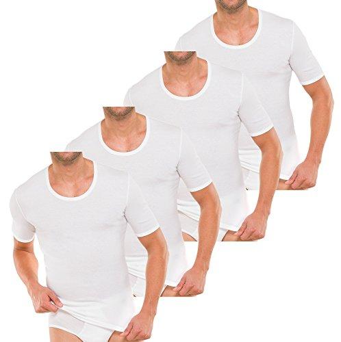 4 Schiesser Herren Unterhemden 1/2 Arm Baumwolle Feinripp - Weiß