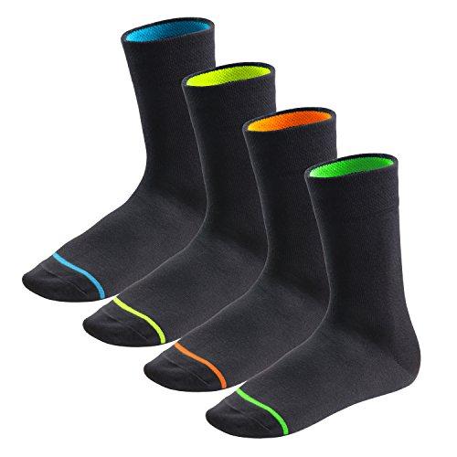 8 Paar Neon Glow Socken von Footstar | Damen & Herren | Schwarze Baumwollsocken | Angenehmer Sitz durch Elasthan & Piqué-Bund - Qualität von celodoro