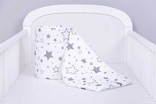 Amilian® Bettumrandung Nest Kopfschutz Nestchen 420x30cm, 360x30cm, 210x30cm, 180x30 cm Gute Nacht Grau Bettnestchen Baby Kantenschutz Bettausstattung