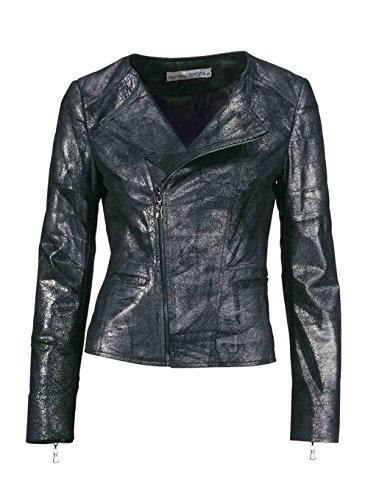 Ashley Brooke Damen-Jacke Lederjacke schwarz Silber Größe 40
