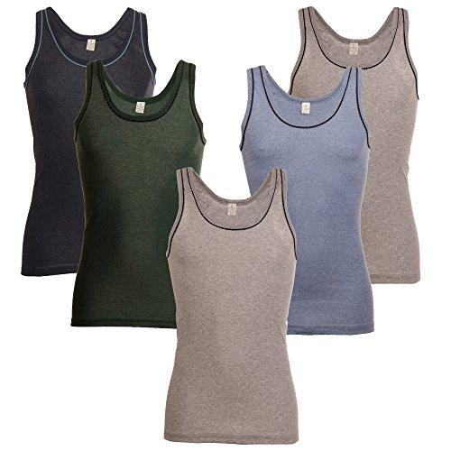BAKIS 5X Herren-Unterhemden in Vielen Farben ✓ ohne Seitennaht ✓ Formbeständig & Langlebig ✓ für Business | Achselhemd, Feinripp-Muskelshirt Aus Baumwolle | Seamless Trägerhemd von SGS