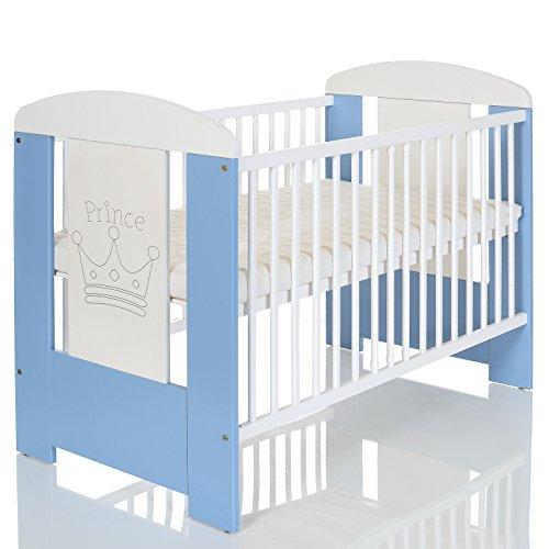 Baby Kinderbett PRINCE 120x60 cm weiss blau mit Holz Gravur und Matratze