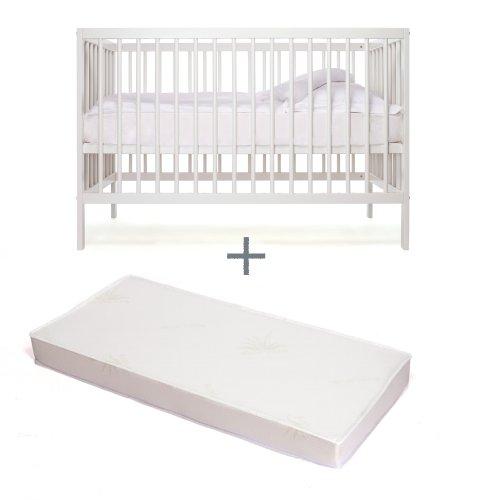 Babybett - Kinderbett - Kombi-Kinderbett - moKee - weiss - mit Matratze - ökologisch